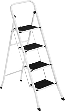 Best Choice Products 4-Step Portable Folding Heavy-Duty Steel Ladder w/ Hand Rail, Wide Platform Steps, 330lbs Capacity