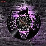 Joker Batman Gotham City LED Retroiluminación Cambio de Color Vintage Vinilo Reloj de Pared