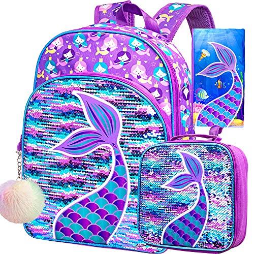 4PCS Mermaid Backpack for Girls, 16