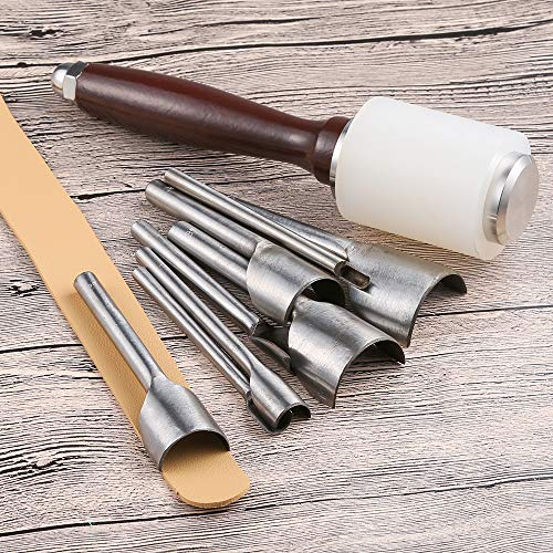 Caydo 8 Pieces Leather Craft Tools Half-Round Cutter Punch for Crafting Strap Belt, Wallet and Bag, 5-40 mm