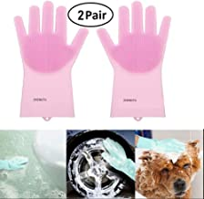 ZHENGTU Magic Silicone Gloves with Wash Scrubber, Reusable Brush Heat Resistant Gloves Kitchen Tool for Cleaning, Dish Washing, Washing The Car, Pet Hair Care - 1 Pair (Multicolor) (Pack of 3)