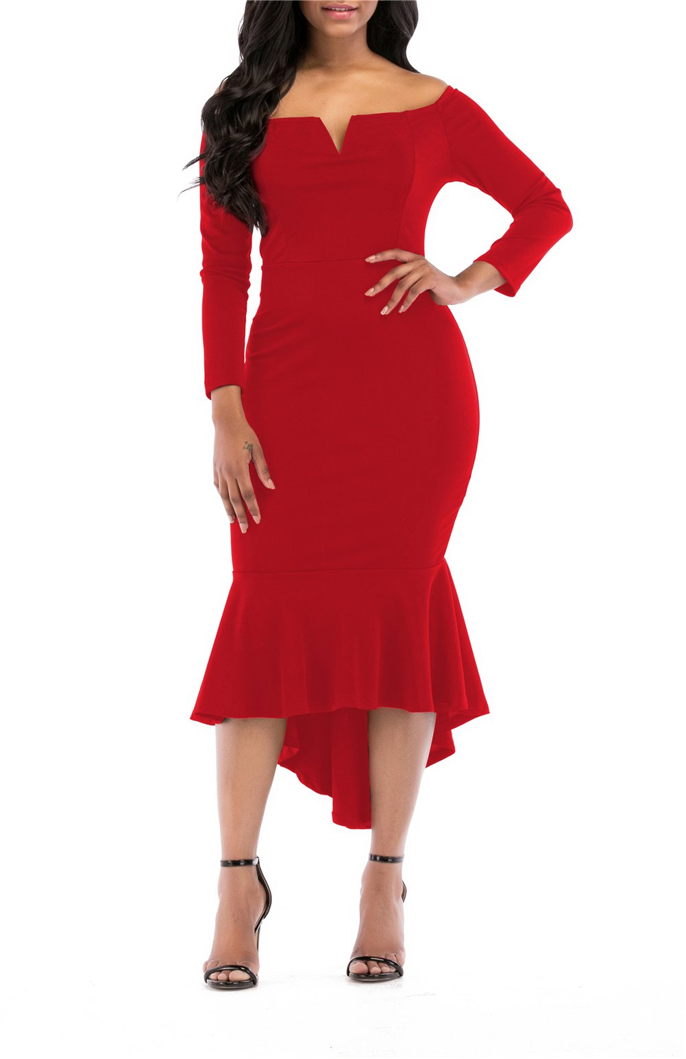 Red Dress - Women's Summer Sexy One Shoulder Ruffle Bodycon Midi Cocktail Dress