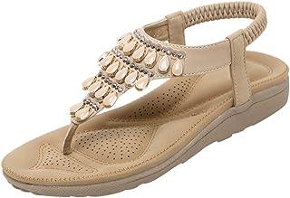 Lovelychica Women Sandals Bohemian Roman Style Clip Toe Sandal Large Comfort Roman Beach Boho Shoes