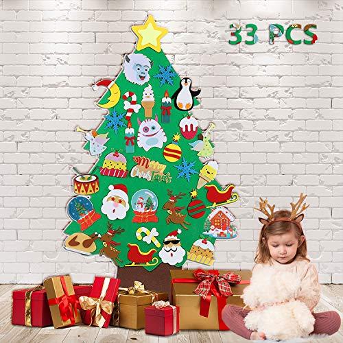 TOBEHIGHER Felt Christmas Tree - 3.5 FT DIY Felt Christmas Tree Set, 33 Ornaments, Xmas Decorations New Year Door Wall Hanging Decorations, Great Gift for Kids