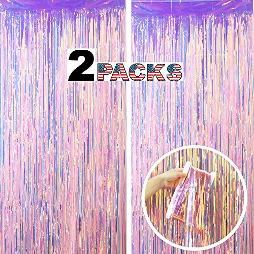 LILF 2 Packs 3.3ft x 8.3ft Gorgeous Iridescent Glitter Fringe Curtain for Wedding Birthday Party Bridal/Baby Shower New Year Christmas Photo Booth Backdrop Decoration (Gorgeous Pink)