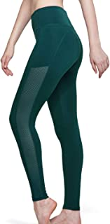 TSLA Yoga Pants Leggings Mid-Waist/High-Waist Tummy Control w Side/Hidden Pocket Series, Side Mesh(fgp71) - Deep Green, Me...