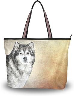 ALAZA Tote Umhängetasche Alaskan Malamut Hundehandtasche Mittel