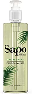 Sapo All Natural Face Cleanser with Aloe Vera, Vitamin B, Vitamin C, Vitamin E, Jojoba Oil and Cocoa Butter. A Plant Based Anti Aging Facial Wash for All Skin Types. For Men, Women and Teens. 8.5 OZ