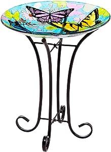 Topadorn Bird Bath Bowl Garden Décor Glass Plate Birdbath with Metal Stand,Butterfly Bird Bath