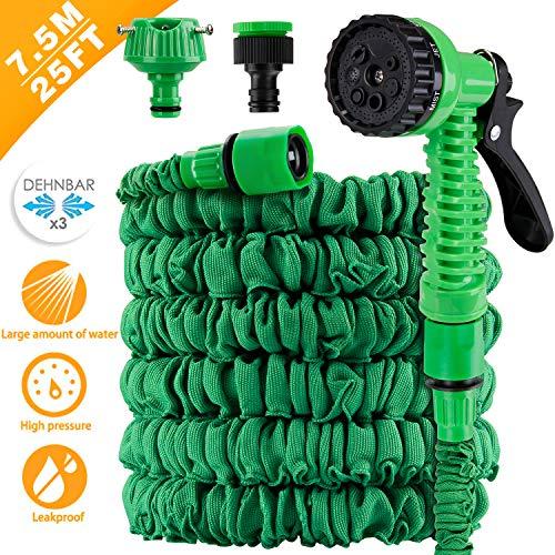 AODOOR Flexibler Gartenschlauch, Flexibel Gartenschlauch Flexi Wasserschlauch Dehnbarer Flexischlauch Ausdehnbar mit 7 Funktionsspray Flexible Dehnbar für Gartenarbeit Reinigung, Grün (7.5M/25FT)