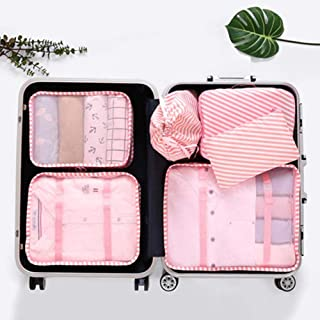 Hamkaw PackingツCubes, 6 Set Pieces Storage Bags for Travel, Nylon Ultralight Luggage Packing Organizers Accessories for Suitcases (Pink)