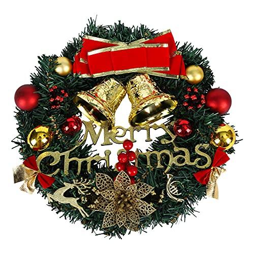 Couronne de Noël, 30cm Guirlande Suspendue pour Porte d'entrée décoration de Guirlande Artificielle de Baies de Houx avec Bowknot Jingle Guirlande de Guirlande de Noël pour Cadre de cheminée Murale