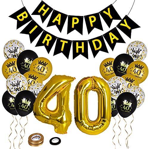 Herefun 40 Años Globos Cumpleaños, 40 Años Números Globos de Papel de Aluminio, Globos de Confeti Globos de Latex Cumpleaños, Kit de Globos, Cumpleaños Decoración de Fiesta para Hombre Mujer