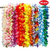 Twister.CK 36pcs Hawaiian Lei Fleur Guirlande, Fleur de Soie Guirlande Bandeau Hula pour Luau Summer Beach Party Costume Dress ¡­