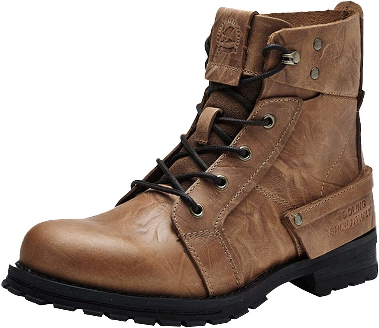 Insun Men's Cowhide Leather Lace Up Work Boots