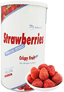 Seabiscuit Healthy Snacks - FreezeDried Whole Strawberries Astronaut Food, Organic Crispy Delicious Fruit 6.4 oz Cans
