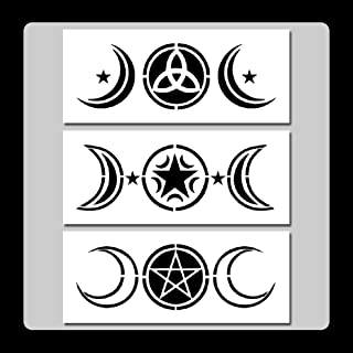 Set of 3 Triple Moons Stencils Templates 3 X 7 inches Each Wiccan/Pentagram/Stars/Goddess/Crescent
