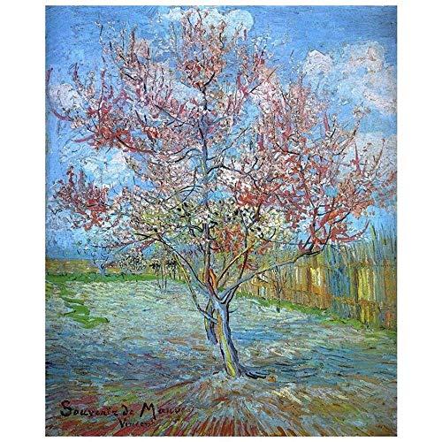 LegendArte Stampa su Tela - Pesco in Fiore - Vincent Van Gogh cm. 60x80 - Quadro su Tela, Decorazione Parete
