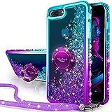 Miss Arts Funda iPhone 7 Plus,iPhone 8 Plus,[Silverback] Carcasa Brillante Purpurina con Soporte giratorios, Transparente Cristal Bumper Telefono Fundas Cover para Apple iPhone 8/7 Plus -PÚRPURA