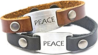 Dillon Rogers Peace - Leather Bracelet with Metal I.D. Style Charm - Black or Brown - Women's Length.