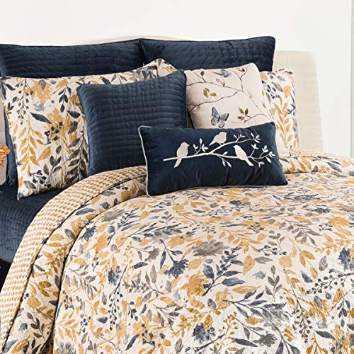 C&F Home Natural Home Full Queen Cotton Quilt Set All-Season Oversized Reversible Floral Leaves Bedding 3 Piece with Shams Full/Queen 3 Piece Set Yellow