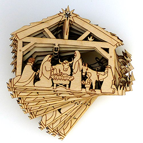 10x Wooden Nativity Manger Scene Craft Shape 3mm Ply Christmas Decoration (Natural-No Holes, Small 8cm x 10.9cm)