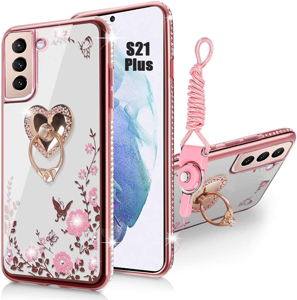 Samsung Galaxy S21 Plus Case,Glitter Crystal Butterfly Heart Flowers Cute for Girl and Women Lovely Bow Love with Ring Stand Slim Soft TPU Protective Cover Case for Samsung S21 Plus 6.7