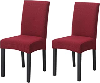Dining Chair Slipcovers Stretch Seat Covers Set of 6 Spandex Short Dining Chair Protectors Cover Seat Slipcover Removable Washable for Home Hotel Dining Room Ceremony Banquet (Wine, 2 Pack)