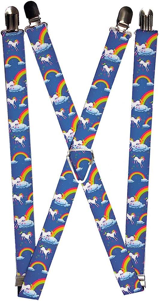Buckle-Down Men's Suspender-Unicorns, Multicolor, One Size