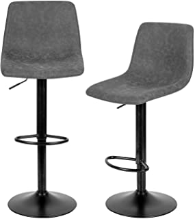 Grey Bar Stools Set of 2,Swivel Bar Stools with Backs Pu Leather Height Adjustable Modern Pub Kitchen Counter Height Bar S...