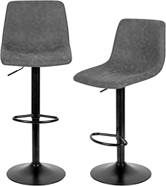 Grey Bar Stools Set of 2,Swivel Bar Stools with Backs Pu Leather Height Adjustable Modern Pub Kitchen Counter Height Bar Stoo