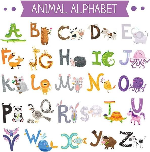YANSHON ABC Stickers Alphabet Decals Animal Alphabet Wall Decals Safari Animal Wall Stickers For Nursery Decoration Woodland Nursery Wall Decals For Baby Playroom Decor