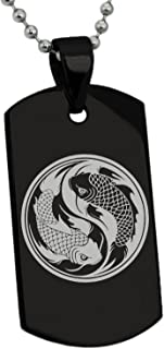 Tioneer Stainless Steel Koi Fish Yin Yang Symbol Dog Tag Pendant Necklace