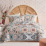 FlySheep 3-Piece Lightweight Bohemian Geometric King Quilt Set, Colorful Aztec Chic Summer Bedspread/Coverlet, Brushed Microfiber for All Season - 104' x 90'