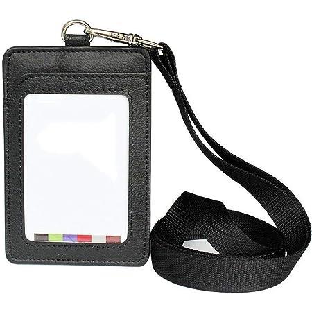 Fliyeong Stockton 1X porte-badge en cuir Porte-cartes d'identité Porte-cartes de sécurité Clip détachable Carte-cadeau Cadeau Porte-clé mousqueton Lampe de poche Travail de croisière en lanière (Noir)