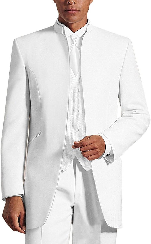 Pretygirl Men's Three-Piece Tuxedo Suits Pure White & Black Wedding Suits Groomsmen Tuxedo