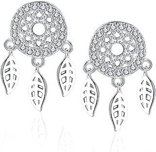SLUYNZ 925 Sterling Silver Dream Catcher Drop Earrings for Women Teen CZ Stones Earrings Feather Tassel Earring Studs