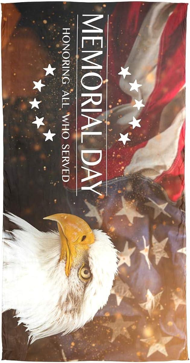 AUUXVA Fashion Scarf Memorial Day American Flag Eagle Long Lightweight Sunscreen Scarf Shawl Wrap Muffler Neckerchief for Women Men