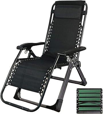 FF Zero Gravity Chairs Black Folding Zero Gravity Reclining Chairs, Heavy Duty Beach Sun Loungers, for Outdoor Patio Garden Courtyard, Support 330lbs