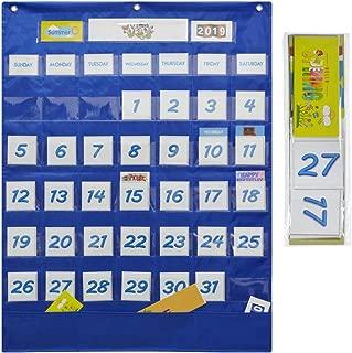 Classroom Resources Monthly Calendar Pocket Chart, Monthly Calendar Pocket Chart with 43 Clear Pocket, Calendar Pocket Chart