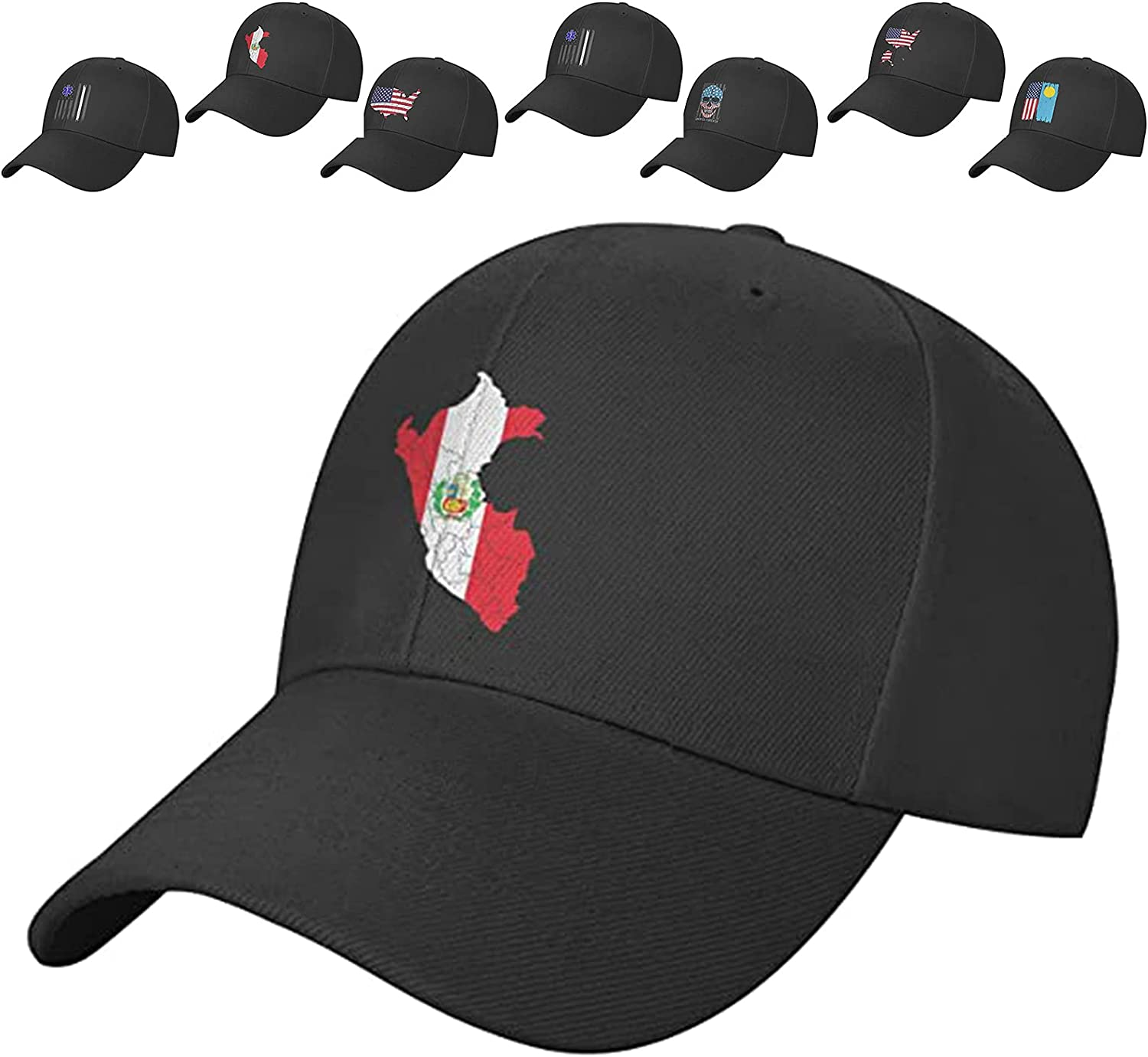 Beade Zehoua Fun Men's Black Baseball Cap with Flag Pattern Breathable and Adjustable Cap Circumference