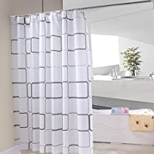 Shower Curtain Waterproof Durable Mildew Stain Resistant Black and White Square Style for Bathroom 180x200 cm