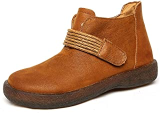 Women's Shoes Leather Boots Warm Oxford Bottom Non-Slip Casual Booties Side Zipper Vintage Martin Boots,Brown,41