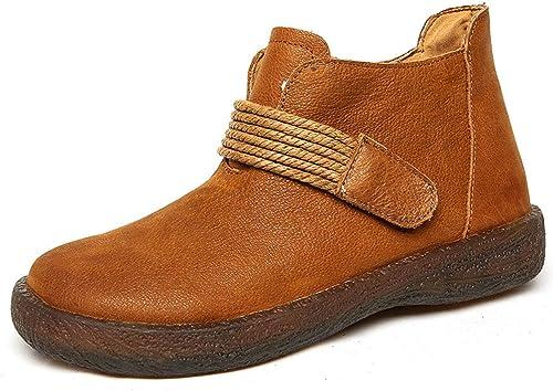 YAN schuhe de Las damenes Stiefel de Cuero cálido Oxford Inferior Antideslizante Casual Botines Laterales Cremallera Vintage Martin Stiefel,braun,41