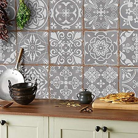 24x mezcla de mosaico gris Lámina impresa 2D 15 x 15cm PEGATINAS lisas para pegar sobre azulejos cuadrados de 15cm en cocina, baños resistentes al agua y aceite mosaico gris