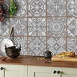 24x gris Lámina impresa 2d PEGATINAS lisas para pegar sobre azulejos cuadrados de 15cm en cocina,...