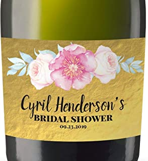 Personalized Mini Champagne Label Stickers, Mini-Champagne Bottle Labels for Bridal Shower, Bridal Shower Custom Mini-Champagne Label Stickers Sold in Set of 10