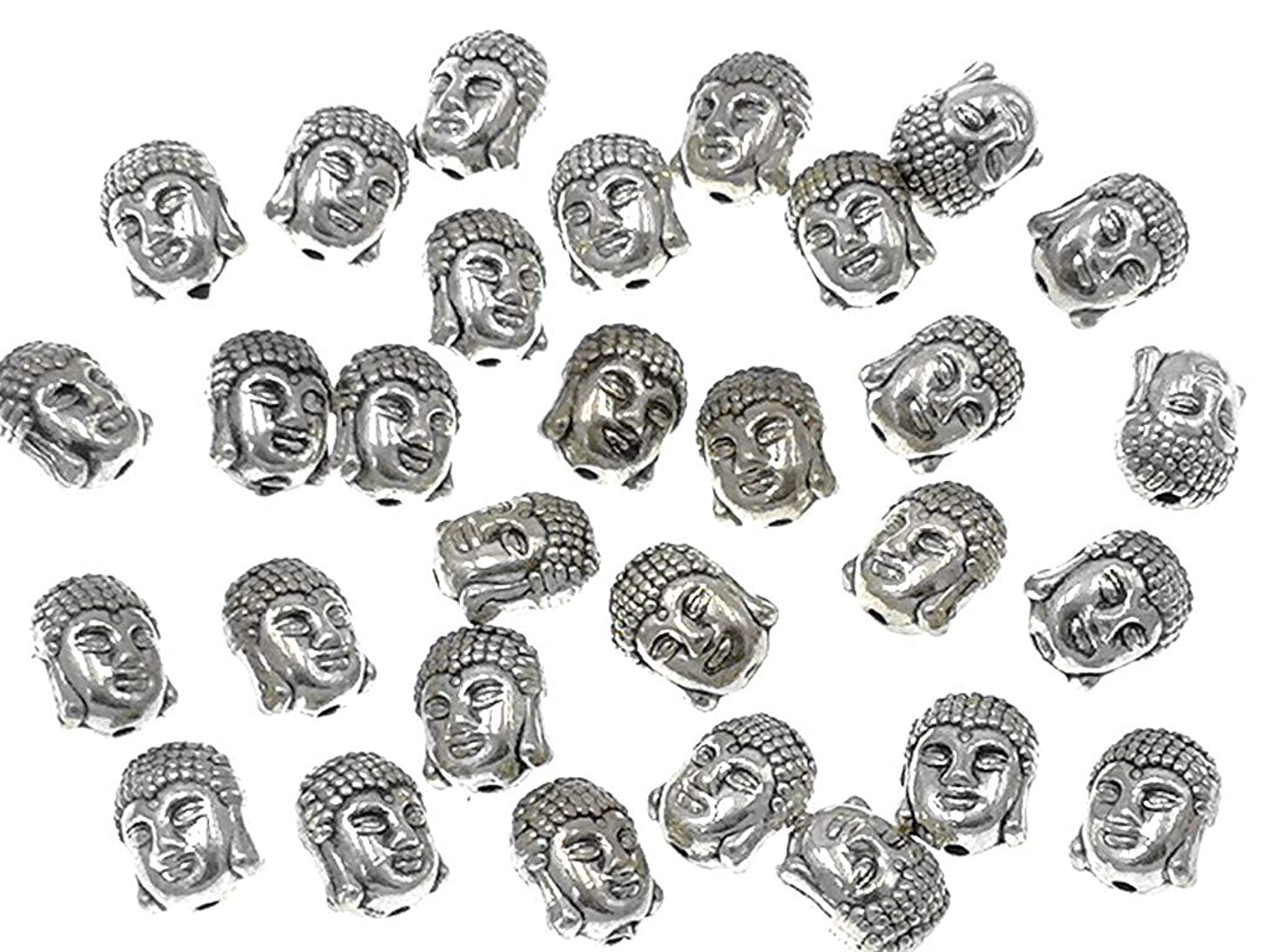 30pcs Alloy Buddha Tathagata Head Bead Spacer Charm Pendant for DIY Necklace Bracelt Jewelry Making Findings(Tibetan Silver Tone)