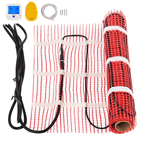 Happybuy 60 Sqft 120V Electric Radiant Floor Heating Mat with Alarmer and Programmable Floor Sensing Thermostat Self-Adhesive Mesh Underfloor Heat Warming Systems Mats Kit (60Sqft Kit)