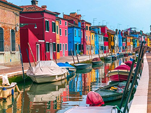Feeling at home Rolled-Canvas-fine-Art-Print-Multi-Coloured-Houses-Next-to-a-Canal,-Burano,-Italy-Photography-26x35_in